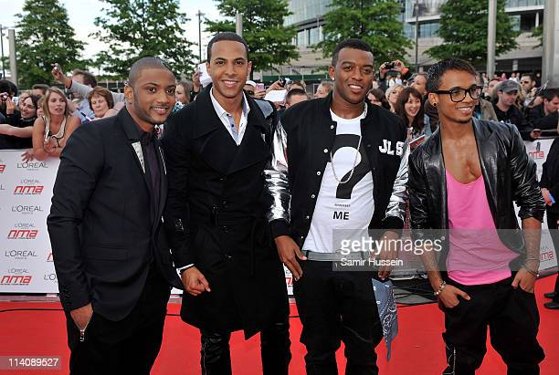 JB Gill Marvin Humes Oritse Williams and Aston Merrygold of JLS arrive for The L'Oreal National Movie Awards at Wembley Arena on May 11 2011 in...