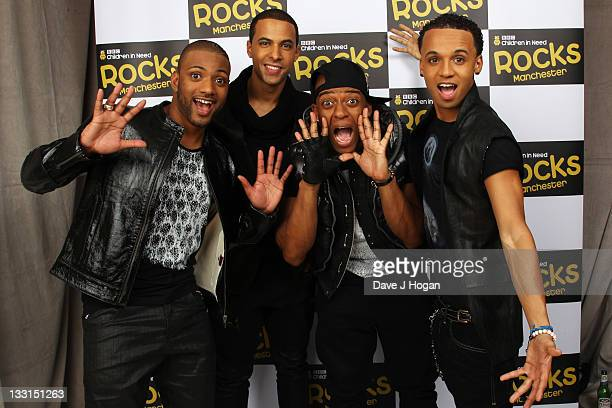 Gill Marvin Humes Oritse Williams and Aston Merrygold of JLS pose backstage at Children In Need Rocks Manchester 2011 at The Manchester Evening News...