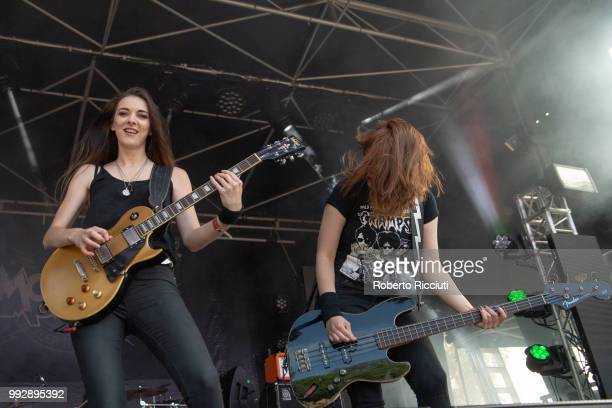 Gill Montgomery and Hannah McKay of The Amorettes perform on stage during TRNSMT Festival Day 4 at Glasgow Green on July 6 2018 in Glasgow Scotland