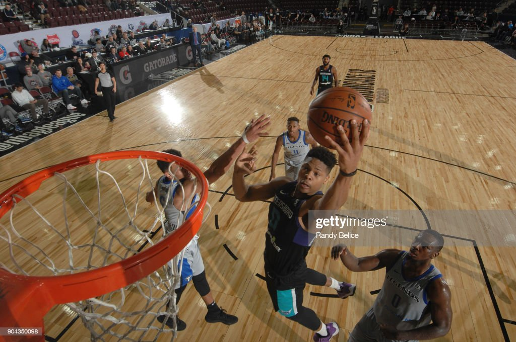 L.G. Gill #0 of the Greensboro Swarm shoots the ball against the Texas Legends at NBA G League Showcase Game 17 on January 12, 2018 at the Hershey Centre in Mississauga, Ontario Canada.