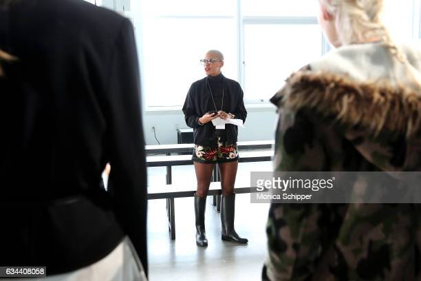 Gilleon Smith instructs models during rehearsal before the Ane Amour fashion show during New York Fashion Week at Pier 59 on February 9 2017 in New...