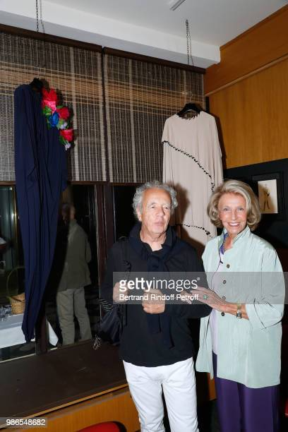 Gilles Bensimon and Genevieve Hebey attend the Tan Giudicelli Exhibition of drawings and accessories preview at Galerie Pierre Passebon on June 28...