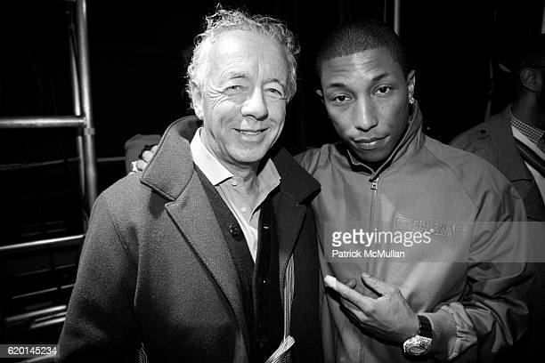 Gilles Bensimon and Pharrell Williams attend TOMMY HILFIGER Fall 2008 Fashion Show at Avery Fisher Hall on February 7 2008 in New York City