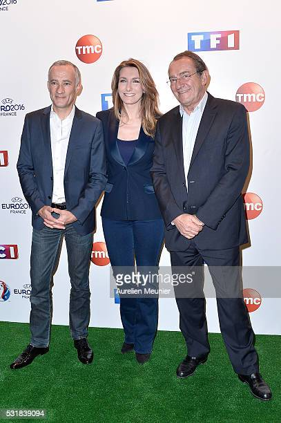 Gilles Bouleau AnneClaire Coudray and JeanPierre Pernaut attend the UEFA press conference photocall at TF1 on May 17 2016 in Paris