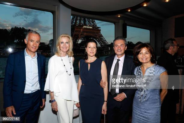 Gilles Bouleau Melissa Bouygues Agnes Buzyn Yves Levy and Elisabeth Tran attend Line Renaud's 90th Anniversary on July 2 2018 in Paris France