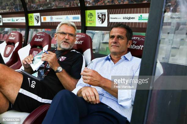 Gilles Bourges assistant of coach of Metz and Philippe Hinschberger coach of Metz during the Ligue 1 match between Metz and EA Guingamp on August 5...