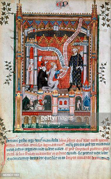 Gilles de Pontoise abbot of St Denis 1317 Gilles accompanied by Yves a monk at the Abbey of St Denis presents the manuscript of the life of St Denis...