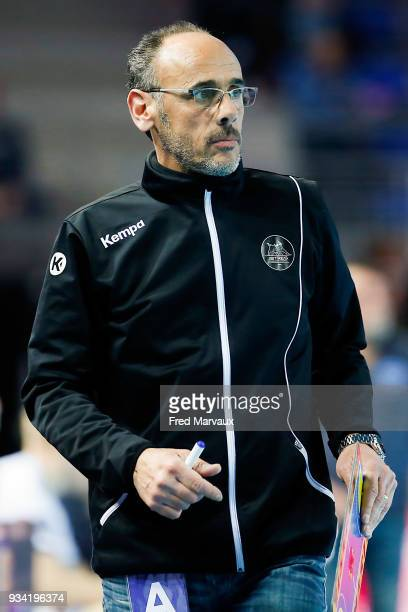 Gilles Derot head coach of Istres during the League Cup semi final match between Istres and Toulouse on March 17 2018 in Metz France