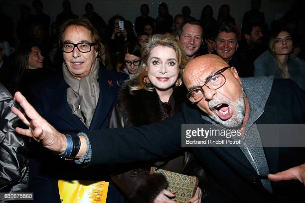 Gilles Dufour Catherine Deneuve and JeanBaptiste Mondino attend the Jean Paul Gaultier Haute Couture Spring Summer 2017 show as part of Paris Fashion...