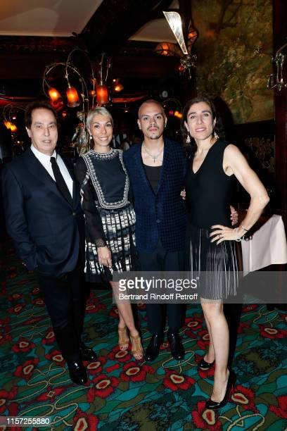 """Gilles Dufour, Mathilde Favier, Evan Ross and Bianca Li attend a dinner hosted in honor of Alex Katz at The Art Gallery Thaddaeus Ropac and event """"La..."""