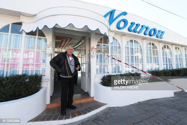 Gilles Esmiol poses in front of his restaurant 'Nounou' one of three illegally installed restaurants to be destroyed on Vallauris Beach in GolfeJuan...