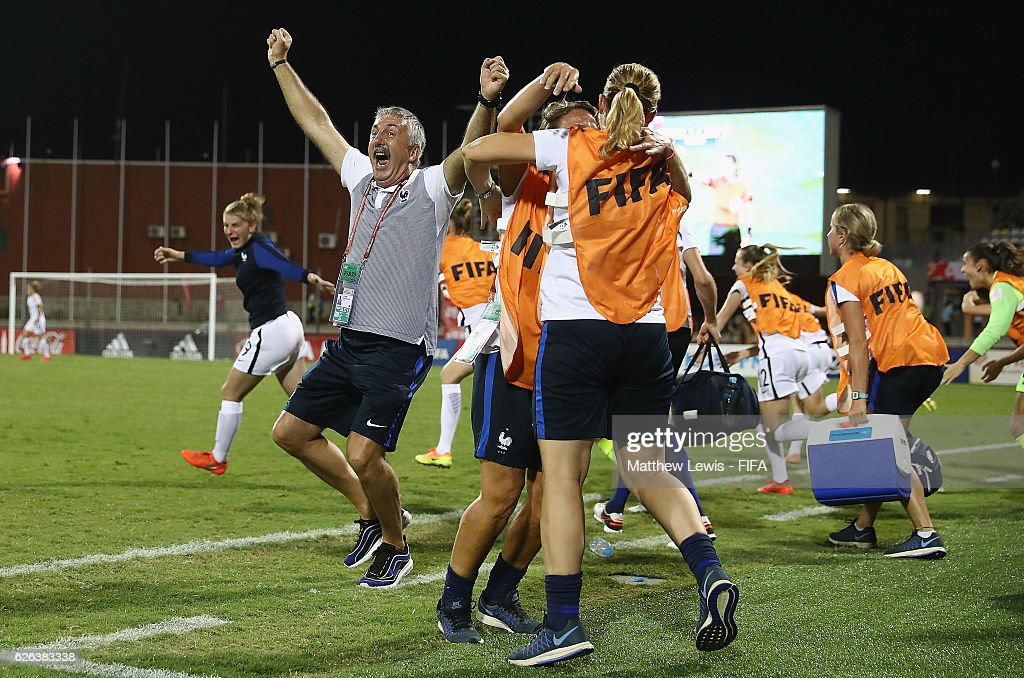 Gilles Eyquem, Head Coach of France celebrates his teams win during the FIFA U-20 Women's World Cup Papua New Guinea 2016 Semi Final match between Japan and France at Sir John Guise Stadium on November 29, 2016 in Port Moresby, Papua New Guinea.