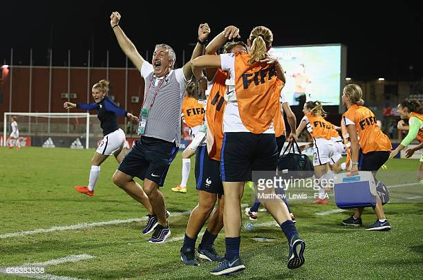 Gilles Eyquem Head Coach of France celebrates his teams win during the FIFA U20 Women's World Cup Papua New Guinea 2016 Semi Final match between...