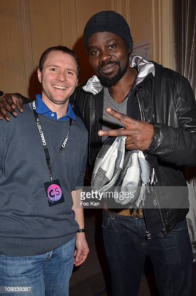 Gilles Freissinier from Canal Street and rap artist Fefe aka Samuel Adebiyi attend the 'Canal Street' Concert Party at Cafe Carmen on January 26,...