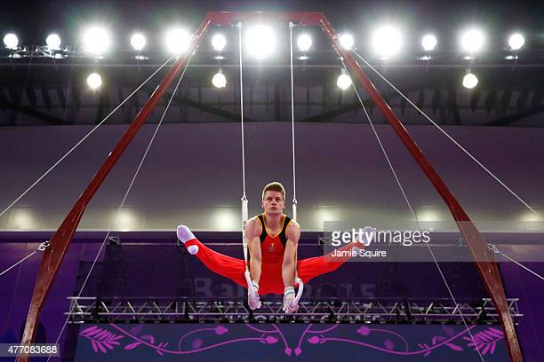 Gilles Gentges of Belgium competes in the Men's Rings Team Final and Individual Qualification during day two of the Baku 2015 European Games at...