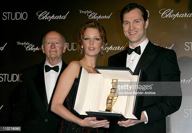 Gilles Jacob, Kelly Reilly and David Morrissey during 2005 Cannes Film Festival - Chopard Trophy Awards Photocall at Carlton Hotel in Cannes, France.