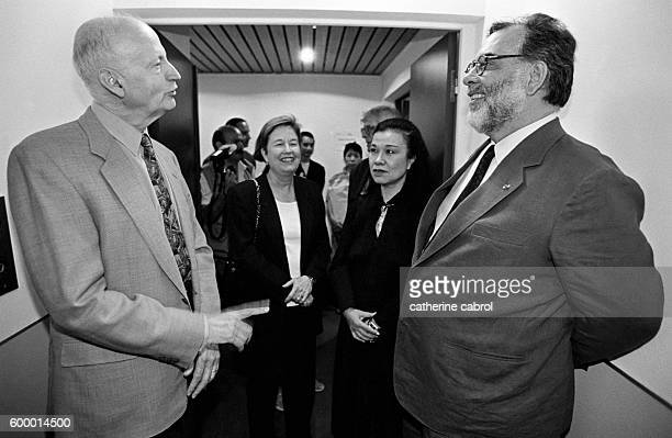Gilles Jacob speaks with American director Francis Ford Coppola president of the jury for the 1996 Cannes Film Festival