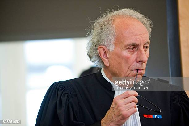 Gilles Jean Portejoie lawyer of Cecile Bourgeon is pictured at Riom courthouse near ClermontFerrand central France on November 16 2016 prior to a...