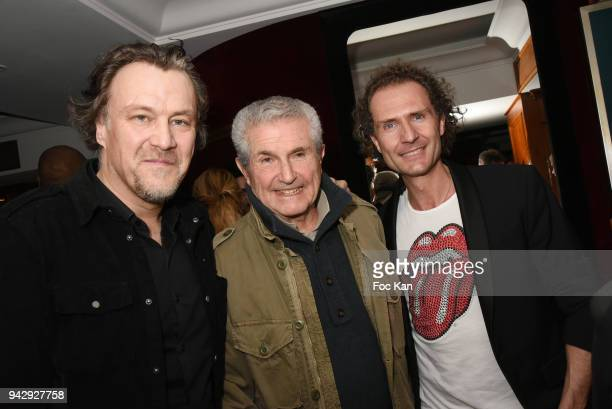 Gilles Le Bihan Director Claude Lelouch and Nicolas MereauÊattend the the Nicolas Mereau Birthday Party At Club 13 on April 6 2018 in Paris France