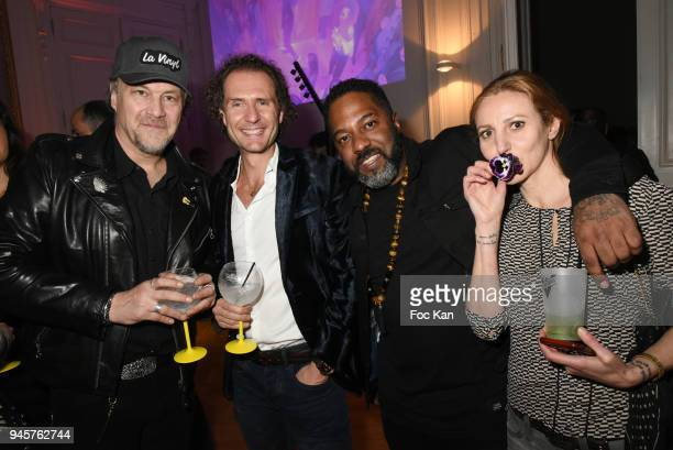 Gilles Le Bihan Nicolas Mereau DJ Nauhgty G and Isabelle Theviot attend Villa Schweppes Party 2018 At Hotel De Salomon De Rothschild on April 12 2018...