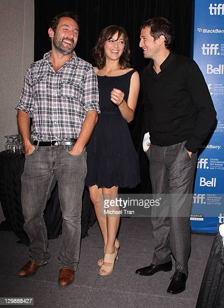 Gilles Lellouche Marion Cotillard and Guillaume Canet attend the 'Little White Lies' press conference during the 2010 Toronto International Film...