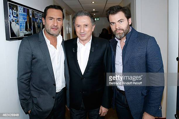 Gilles Lellouche Michel Drucker and Clovis Cornillac attend the 'Vivement Dimanche' French TV Show at Pavillon Gabriel on January 28 2015 in Paris...