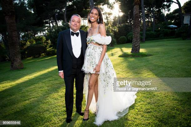 Gilles Mansard and Cindy Bruna poses for portraits at the amfAR Gala Cannes 2018 cocktail at Hotel du CapEdenRoc on May 17 2018 in Cap d'Antibes...