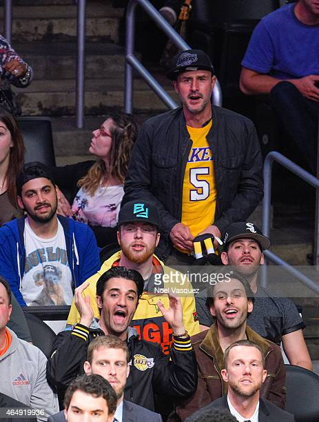 Gilles Marini and David Arquette attend a basketball game between the Oklahoma City Thunder and the Los Angeles Lakers at Staples Center on March 1...