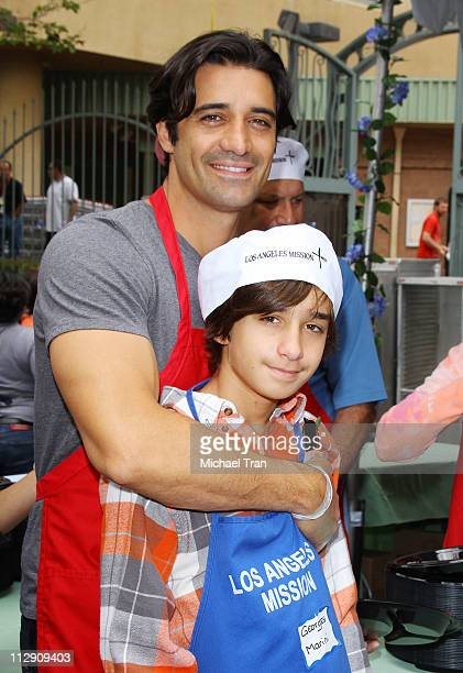 Gilles Marini and his son Georges attend the Los Angeles Mission Easter For The Homeless held at Los Angeles Mission on April 22 2011 in Los Angeles...