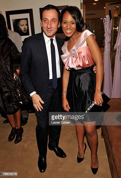 Gilles Mendel and Kerry Washington attend the Kara Ross NY Oscar Collection Cocktail Party at the Sunset Tower Hotel on February 21 2008 in Los...
