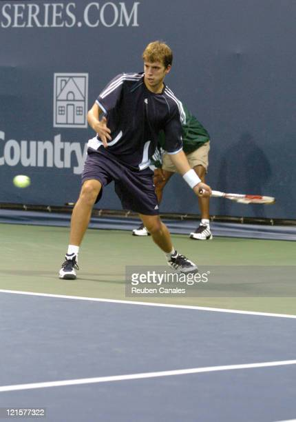 Gilles Muller defeats Robby Ginepri in the third round of the MercedesBenz Cup on the UCLA Tennis Center Westwood California on July 29 2005