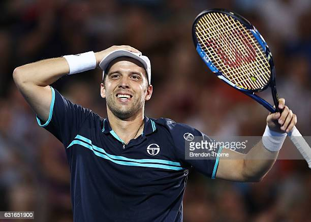 Gilles Muller of Luxembourg celebrates after winning the men's final match against Daniel Evans of Great Britain during the 2017 Sydney International...