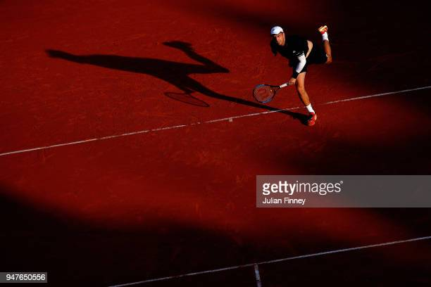 Gilles Muller of Luxembourg in action against Alexander Zverev of Germany during Day Three of the ATP Masters Series Monte Carlo Rolex Masters at...