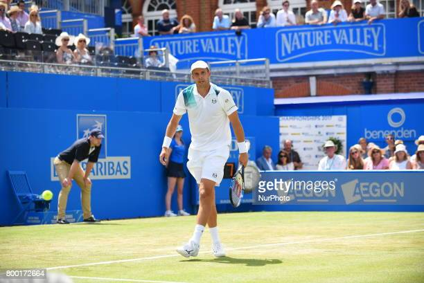 Gilles Muller of Luxembourg plays the AEGON Championships 2017 quarter final at the Queen's Club, London on June 23, 2017.