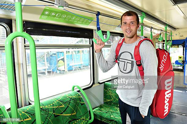 Gilles Muller of Luxembourg takes in the sights of Melbourne on a tram ride around town during the 2015 Australian Open at Melbourne Park on January...