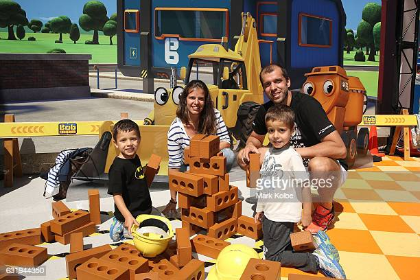 Gilles Muller of Luxembourg with wife Alessia Fauzzi Muller and children attend AO Ball Park kids zone during day three of the 2017 Australian Open...