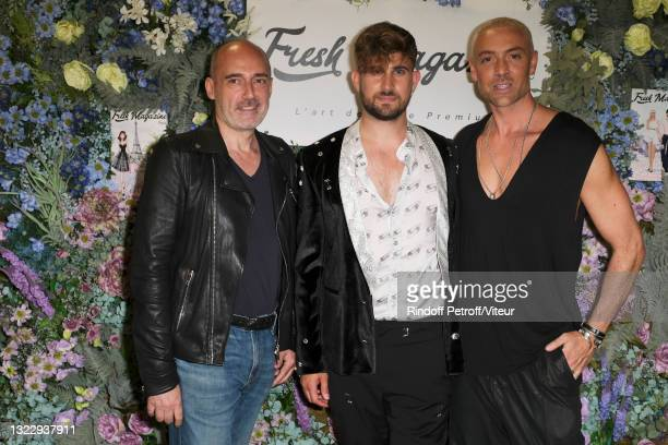 """Gilles Muzas, Yanis Bargoin and Maxime Dereymez attend the """"Fresh Magazine"""" launch party on June 10, 2021 in Paris, France."""