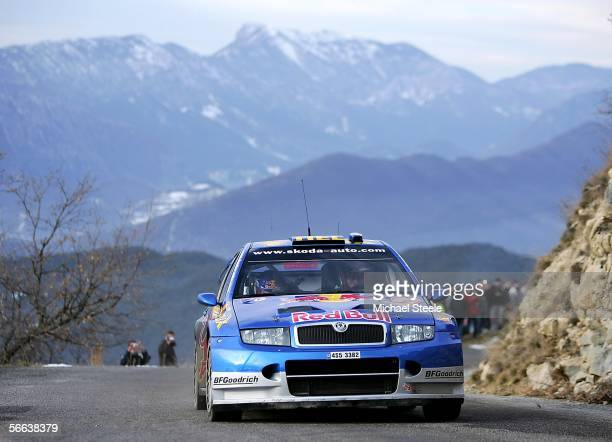 GIlles Panizzi of France and the Red Bull Skoda World Rally team in action during special stage 8 Leg 2 of the Monte Carlo Rally from Saint Antonin...