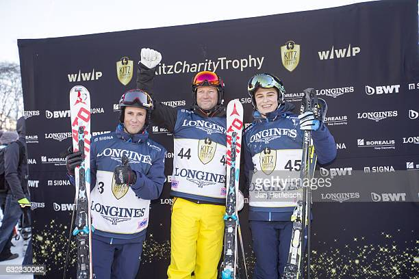 Gilles Robert Stephan Eberharter and Felipe Capelli pose for a picture during the KitzCharityTrophy on January 21 2017 in Kitzbuehel Austria