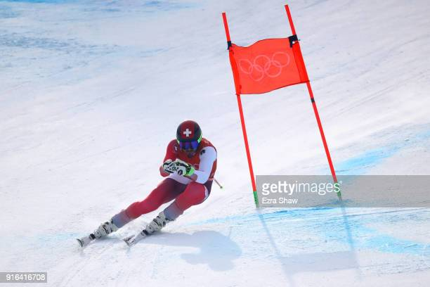 Gilles Roulin of Switzerland makes a run during the Men's Downhill 3rd Training on day one of the PyeongChang 2018 Winter Olympic Games at Jeongseon...