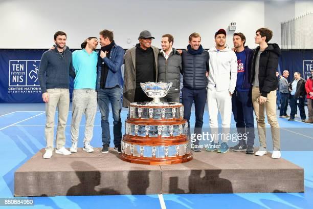 Gilles Simon Lucas Pouille Nicolas Mahut team captain Yannick Noah Richard Gasquet Julien Benneteau Jo Wilfied Tsonga Jeremy Chardy and Pierre Hughes...