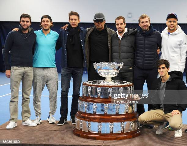 Gilles Simon Lucas Pouille Nicolas Mahut Yannick Noah Richard Gasquet Julien Benneteau Jo Wilfried Tsonga and Pierre Hugues Herbert pose with the...