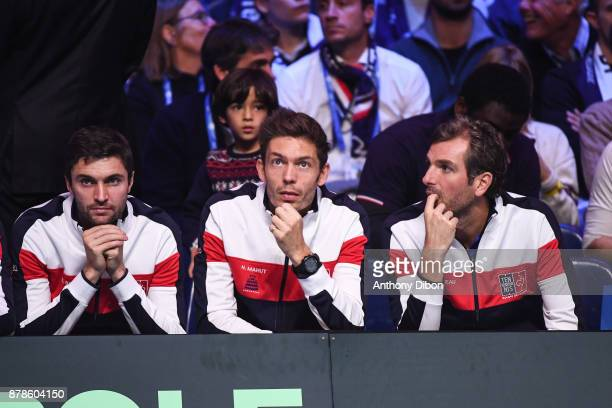 Gilles Simon Nicolas Mahut and Julien Benneteau during the day 1 of the Final of the Davis Cup match between France and Belgium at Stade Pierre...