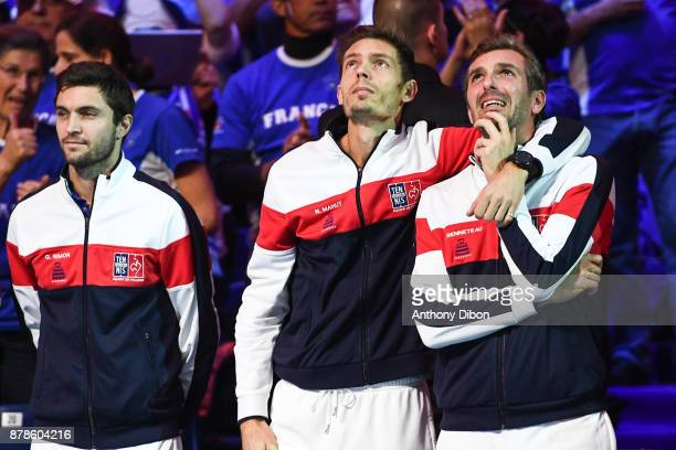Gilles Simon Nicolas Mahut and Julien Benneteau of France during the day 1 of the Final of the Davis Cup match between France and Belgium at Stade...
