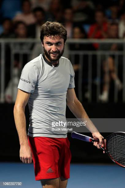 Gilles Simon of France ais pictured after his win on day five of the 2019 Sydney International at the Sydney Olympic Tennis Centre on January 10 2019...