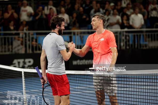 Gilles Simon of France and John Millman of Australia are pictured after Simon's win on day five of the 2019 Sydney International at the Sydney...