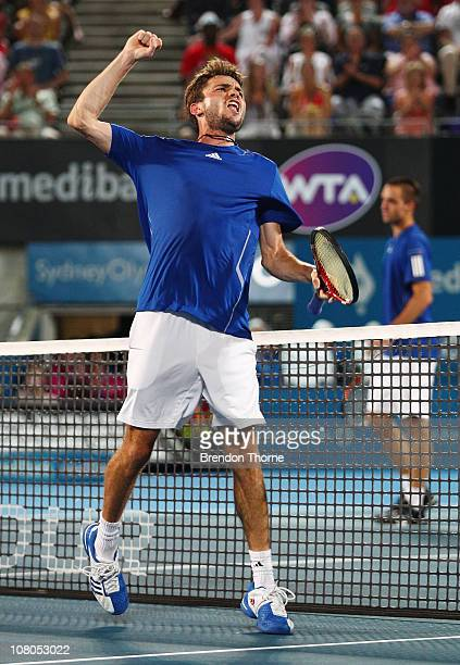 Gilles Simon of France celebrates after winning the Mens final against Viktor Troicki of Serbia during day seven of the 2011 Medibank International...