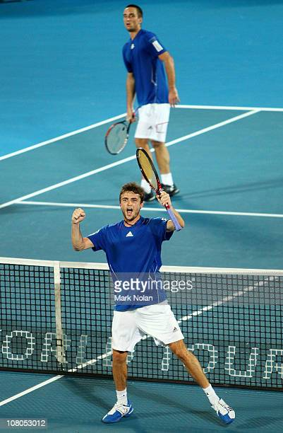 Gilles Simon of France celebrates winning the Mens singles final against Viktor Troicki of Serbia during day seven of the 2011 Medibank International...