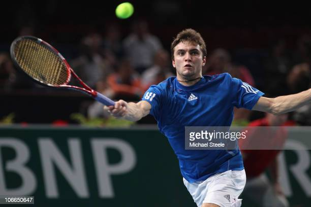 Gilles Simon of France during his second round match against Andrey Golubev of Kazhakstan during Day Three of the ATP Masters Series Paris at the...