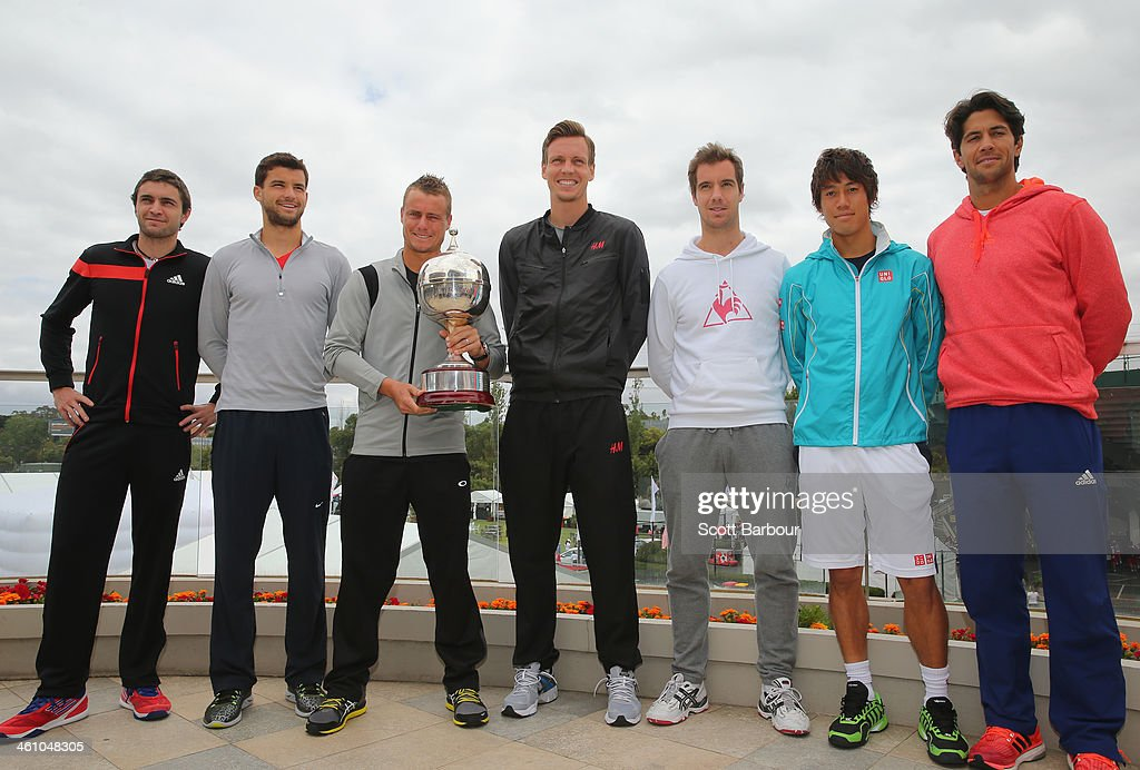 Gilles Simon of France, Grigor Dimitrov of Bulgaria, Lleyton Hewitt of Australia, Tomas Berdych of Czech Republic, Richard Gasquet of France, Kei Nishikori of Japan and Fernando Verdasco of Spain pose during a press conference ahead of the AAMI Classic at Kooyong on January 7, 2014 in Melbourne, Australia.